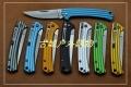 2014新款三刃木彩色铝合金柄背簧锁刀7112RUC
