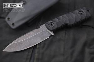 正品汉道狙击手战术刀D2钢K鞘石洗生存刀