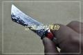 手工锻打骆驼骨北欧风格高硬度大马士革花纹钢猎刀茶刀